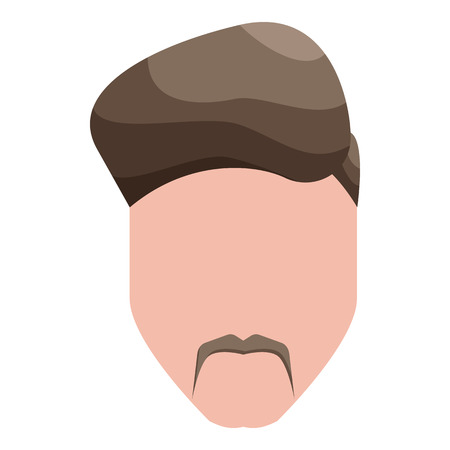 enticement: Modern mens hairstyle icon in cartoon style on a white background