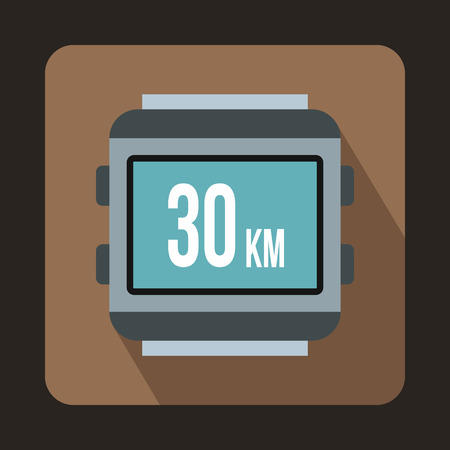 kilometre: Speedometer bike icon in flat style with long shadow. Device symbol