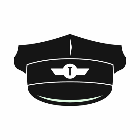 chauffeur: Cap taxi driver icon in simple style isolated on white background Illustration