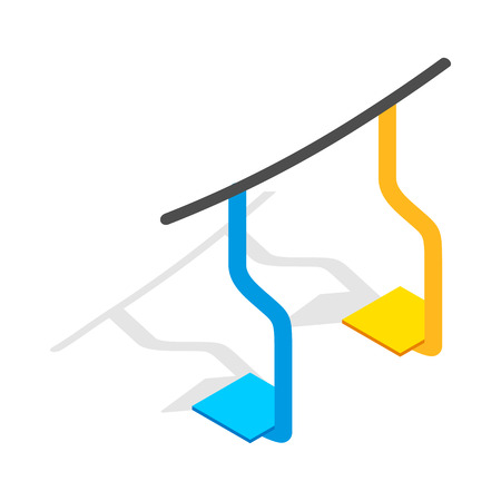 chairlift: Ski lift icon in isometric 3d style on a white background