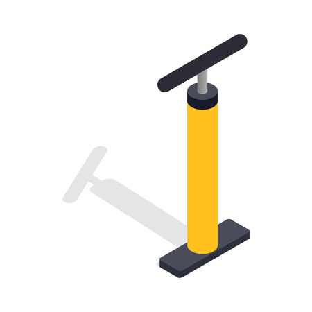 inflate: Yellow hand bicycle pump icon in isometric 3d style on a white background Illustration