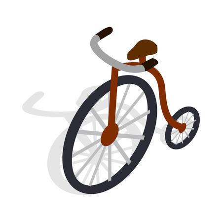 spoke: Highwheel bike icon in isometric 3d style on a white background