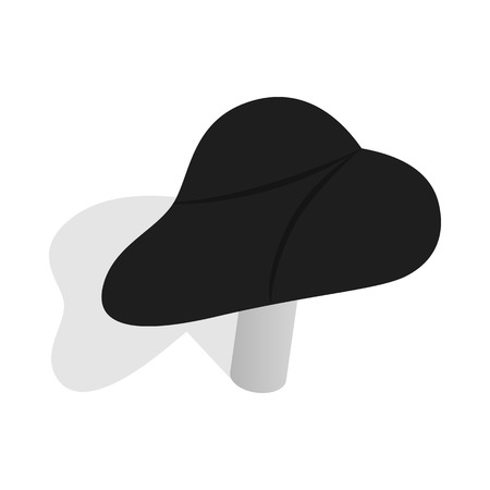 ergonomics: Black bicycle seat icon in isometric 3d style on a white background