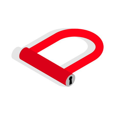 u lock: Bicycle Lock U shaped icon in isometric 3d style on a white background