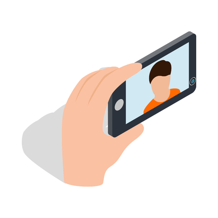 photo icon: Young man taking selfie photo icon in isometric 3d style on a white background Illustration
