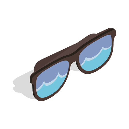 reflecting: Black sunglasses with a beach reflecting icon in isometric 3d style on a white background