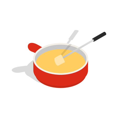 dipped: Cheese fondue icon in isometric 3d style on a white background Illustration