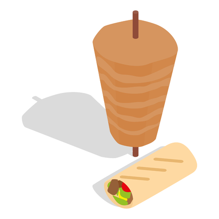 pita bread: Traditional doner kebab icon in isometric 3d style on a white background