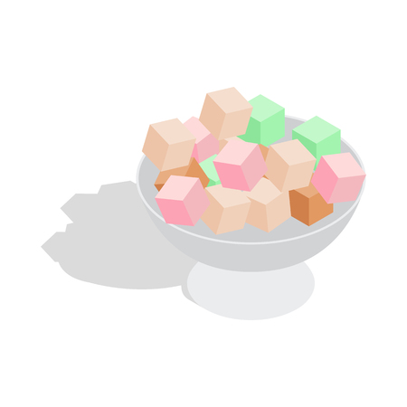 turkish dessert: Turkish delight icon in isometric 3d style on a white background