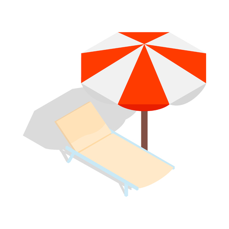 chaise: Beach chaise lounge with umbrella icon in isometric 3d style on a white background Illustration