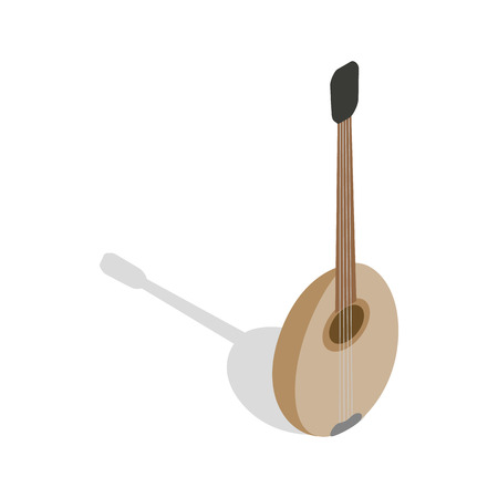 kilim: Traditional turkish music instrument icon in isometric 3d style on a white background