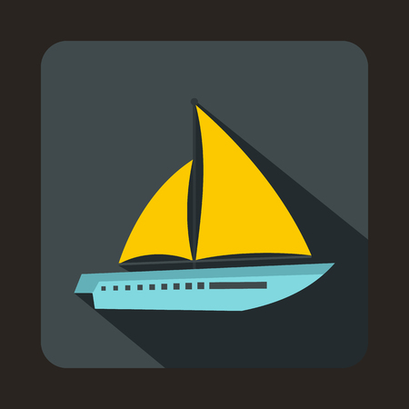 sea transport: Sailing yacht icon in flat style with long shadow. Sea transport symbol Illustration