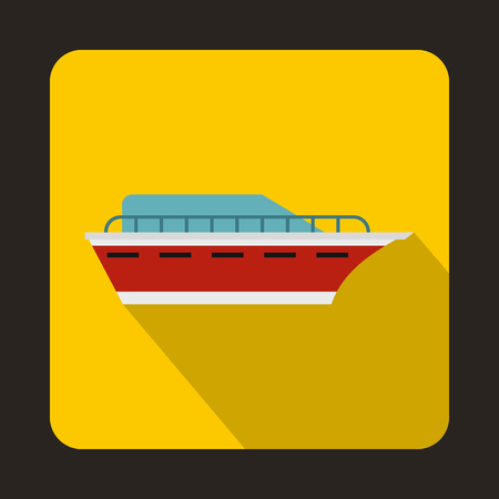 sea transport: Powerboat icon in flat style with long shadow. Sea transport symbol