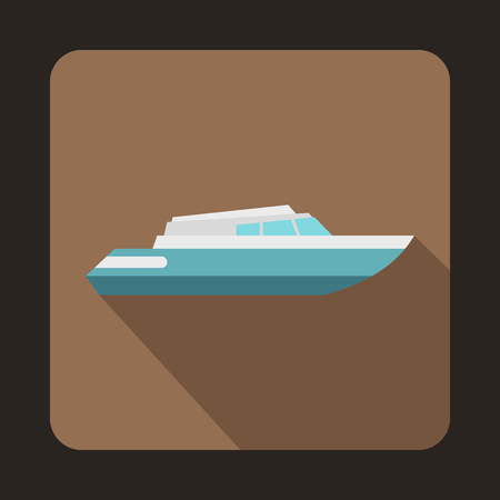 planing: Planing powerboat icon in flat style with long shadow. Sea transport symbol