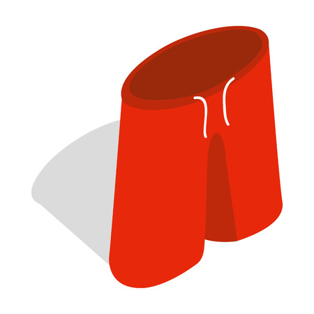 boardshorts: Red shorts for swimming icon in isometric 3d style on a white background Illustration