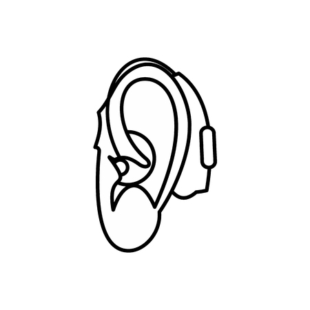 hearing aid: Hearing aid icon in outline style isolated on white background