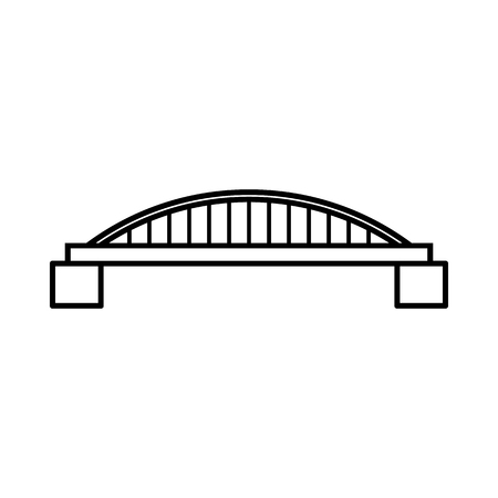 balustrade: Bridge icon in outline style isolated on white background
