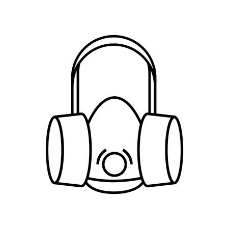 respirator: Respirator icon in outline style isolated on white background Illustration