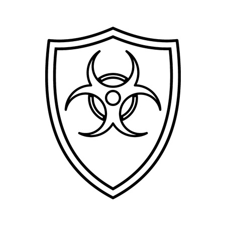 infectious waste: Shield with a biohazard sign icon in outline style isolated on white background