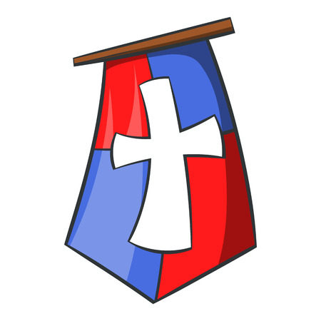 medeival: Red and blue medieval banner flag with cross icon in cartoon style on a white background