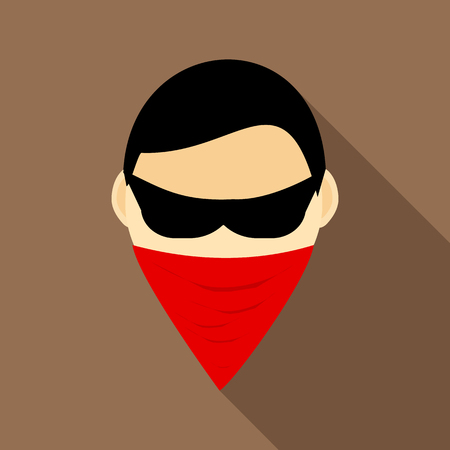 incognito: Spy in mask icon in flat style with long shadow. Spying symbol Illustration