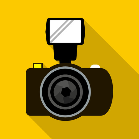 creation of sites: Photo camera with flash icon in flat style with long shadow. Shooting symbol Illustration