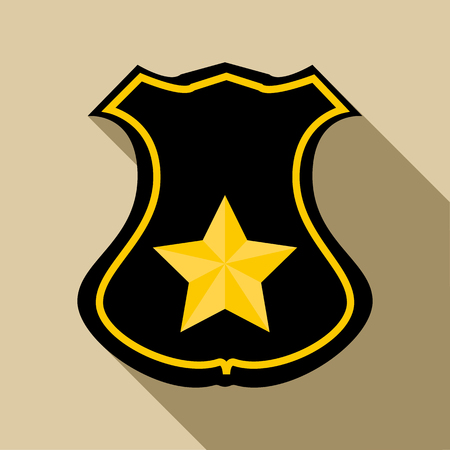 Sheriff badge icon in flat style with long shadow. Police symbol