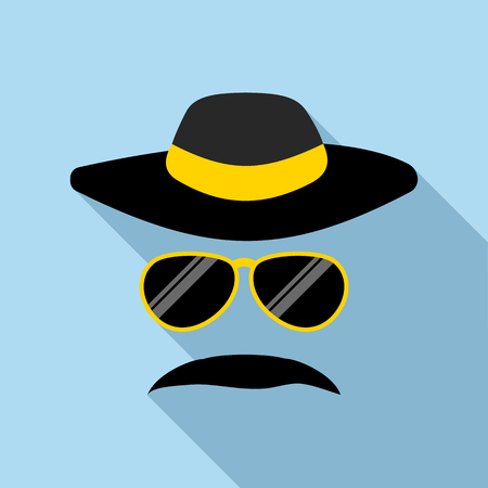 El detective icono de incógnito en estilo plano con una larga sombra. símbolo de la policía Ilustración de vector