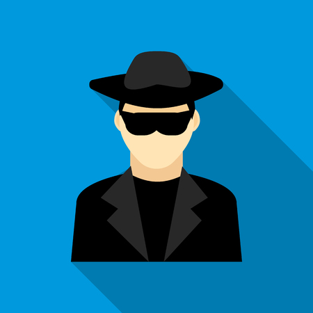 evade: Detective icon in flat style with long shadow. Police symbol