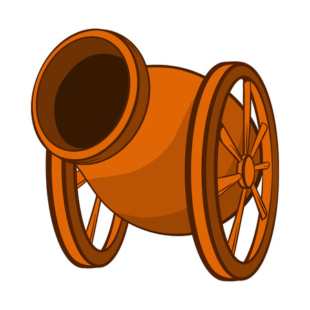 iron defense: Medieval cannon icon in cartoon style on a white background Illustration