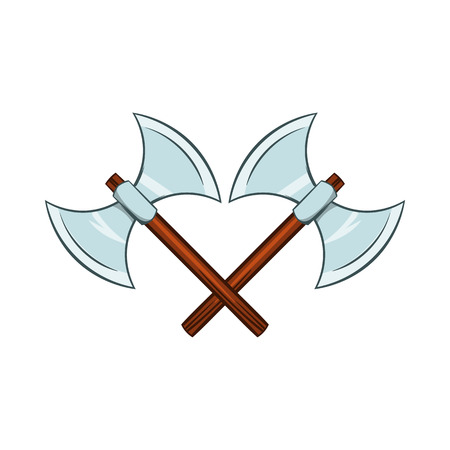 Crossed Ancient Battle Double Axes Icon In Cartoon Style On A