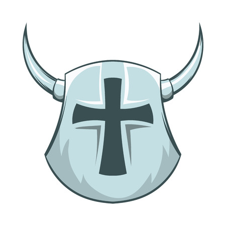 iron cross emblem: Medieval shield with cross and horns icon in cartoon style on a white background Illustration