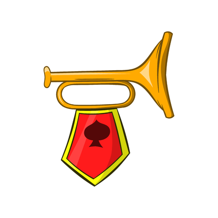fanfare: Golden trumpet with a red flag icon in cartoon style on a white background