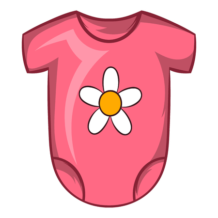 romper suit: Pink baby bodysuit icon in cartoon style on a white background Illustration