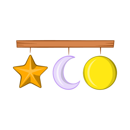 lullaby: Crib mobile icon in cartoon style on a white background Illustration