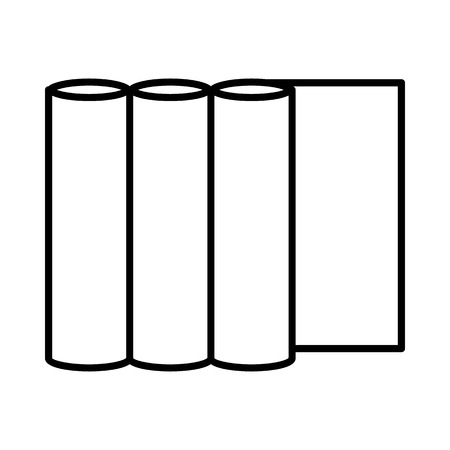 prepress: Rolls of paper icon in outline style on a green background Illustration