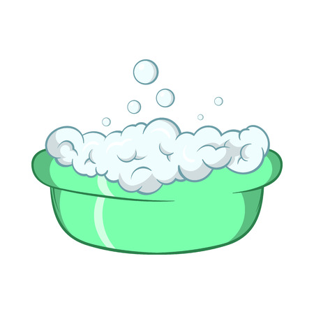 basin: Green baby bath with foam icon in cartoon style on a white background