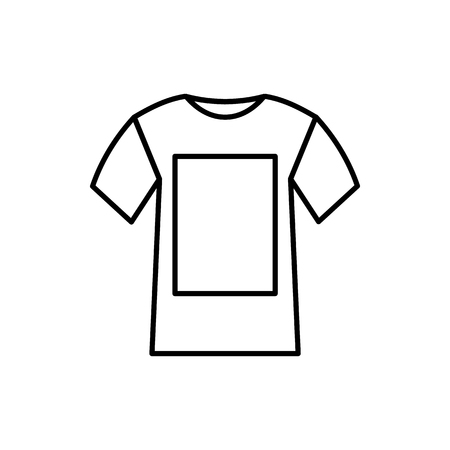 white shirt: White shirt icon in outline style isolated on white background Illustration
