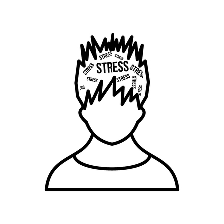 Word stress in the head of man icon in outline style isolated on white background Vektoros illusztráció
