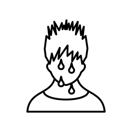 sweaty: Sweaty man icon in outline style on a white background Illustration