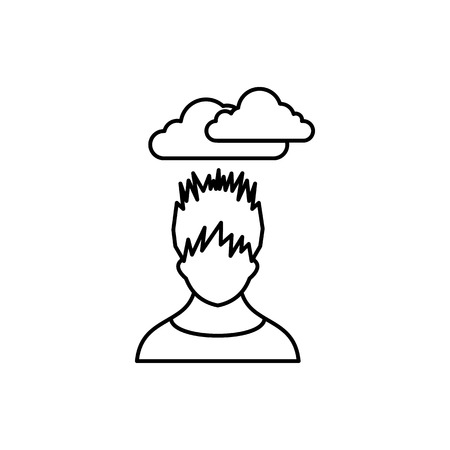 dark cloud: Depressed man with dark cloud over his head icon in outline style isolated on white background Illustration