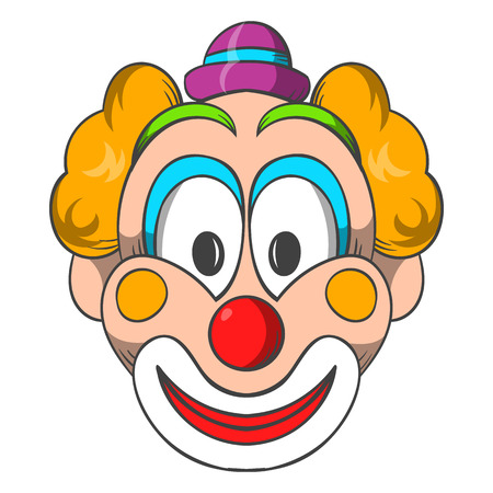 cartoon clown: Head of clown icon in cartoon style on a white background