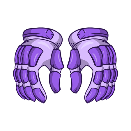 padding: A pair of hockey gloves icon in cartoon style on a white background Illustration