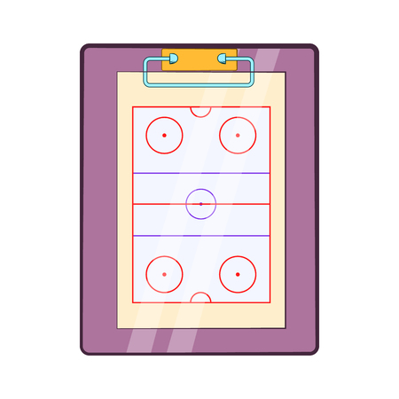 tactical: Tablet coach with tactical placement of teams icon in cartoon style on a white background