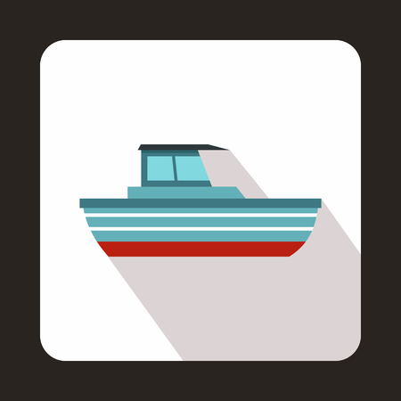 motor boat: Motor boat icon in flat style with long shadow. Sea transport symbol Illustration
