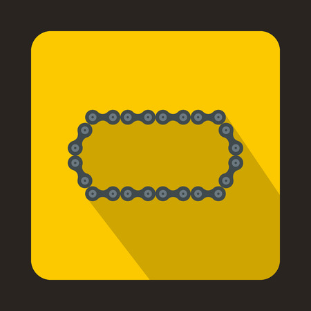 gearing: Bicycle chain icon in flat style with long shadow. Device symbol