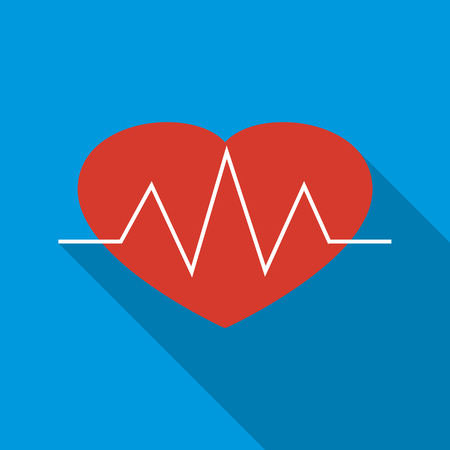 cardiograph: Heartbeat icon in flat style on a blue background