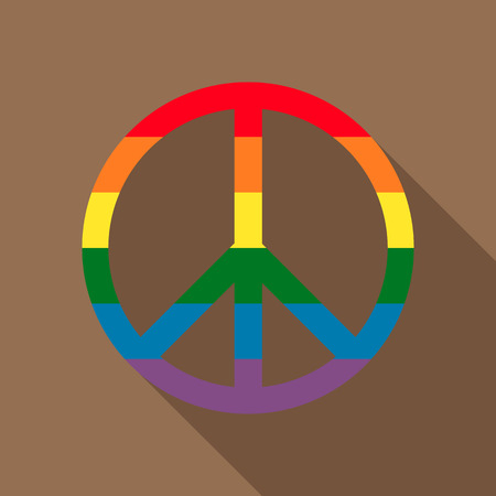 idealism: Pacific symbol in rainbow colors icon in flat style on a brown background Illustration