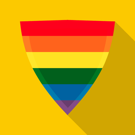 asexual: Shield in rainbow colors icon in flat style on a yellow background Illustration
