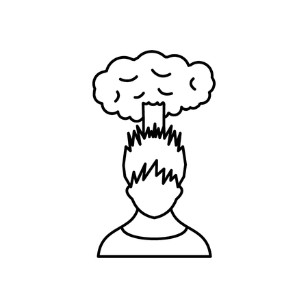 despondency: Man with cloud over head icon in simple style isolated on white background